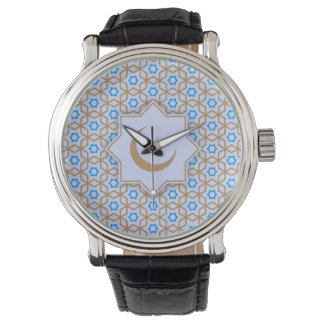 islamic religious geometric decoration pattern bac wrist watch