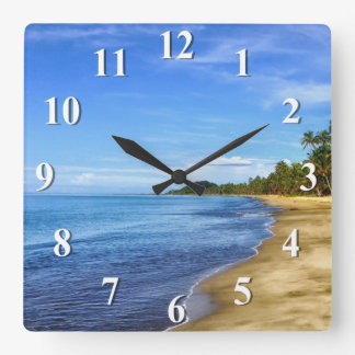 Island Beach Blue Water and Sky Square Wall Clock