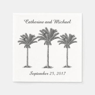 Island Beach Palm Trees Black White Custom Wedding Paper Napkin
