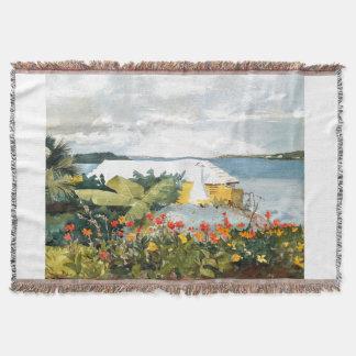 Island Bermuda Ocean Flowers Coast Throw Blanket