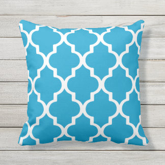 Island Blue Outdoor Pillows Quatrefoil Lattice