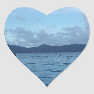 Island Boat Dock Heart Sticker