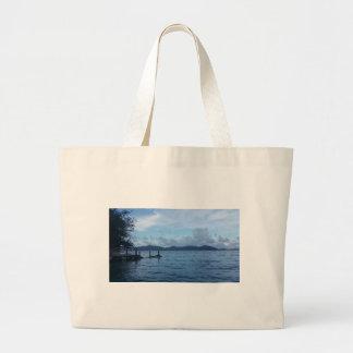 Island Boat Dock Large Tote Bag