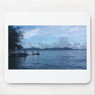 Island Boat Dock Mouse Pad