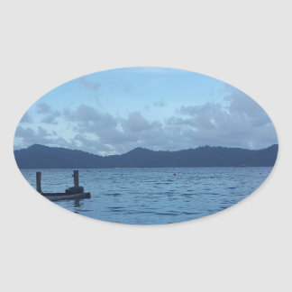 Island Boat Dock Oval Sticker
