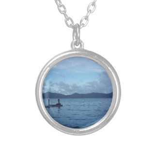 Island Boat Dock Silver Plated Necklace