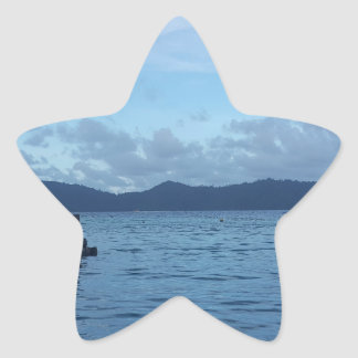 Island Boat Dock Star Sticker