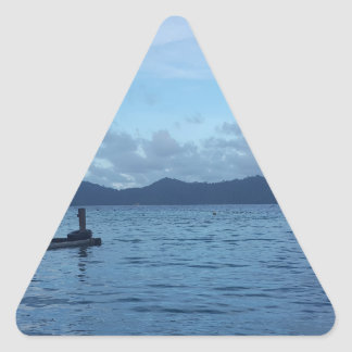 Island Boat Dock Triangle Sticker