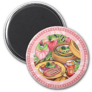 Island Cafe - Bamboo Steamer 2 Inch Round Magnet
