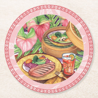 Island Cafe - Bamboo Steamer Round Paper Coaster