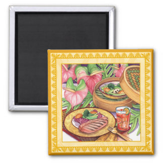Island Cafe - Bamboo Steamer Square Magnet