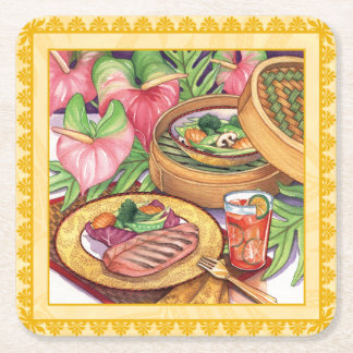 Island Cafe - Bamboo Steamer Square Paper Coaster