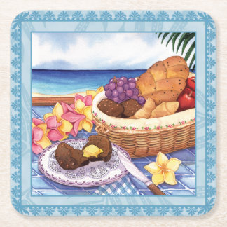 Island Cafe - Breakfast Lanai Square Paper Coaster