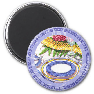 Island Cafe - Ginger Lei Place Setting 2 Inch Round Magnet