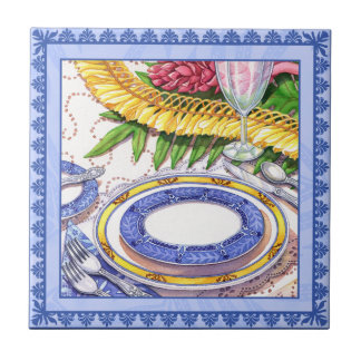 Island Cafe - Ginger Lei Place Setting Ceramic Tile