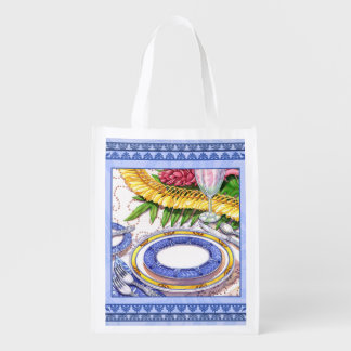 Island Cafe - Ginger Lei Place Setting Reusable Grocery Bag