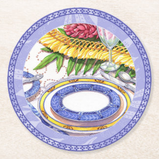 Island Cafe - Ginger Lei Place Setting Round Paper Coaster