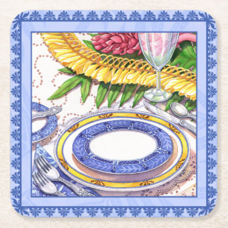 Island Cafe - Ginger Lei Place Setting Square Paper Coaster