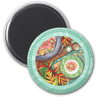 Island Cafe - Heliconia Wok 2 Inch Round Magnet