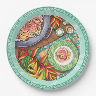 Island Cafe - Heliconia Wok Paper Plate
