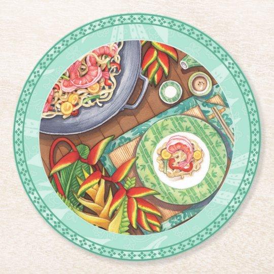 Island Cafe - Heliconia Wok Round Paper Coaster