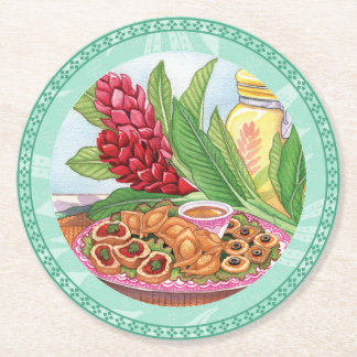 Island Cafe - Party Pupus Round Paper Coaster