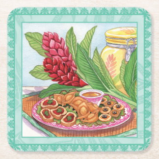Island Cafe - Party Pupus Square Paper Coaster