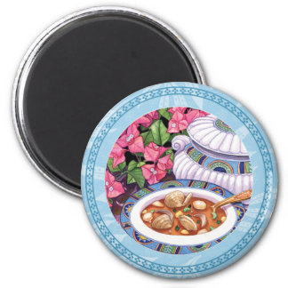 Island Cafe - Soup is Served 2 Inch Round Magnet