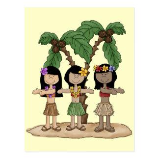 Island Dancing Girls Postcard