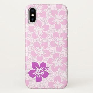 Island Floral Hawaiian Accent Hibiscus Pinstriped iPhone X Case