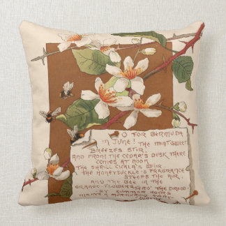 Island Flower Blossoms Bermuda Floral Poem Throw Pillow