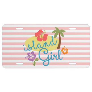 Island Girl: Tropical Pink Stripes License Plate