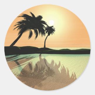 Island Gold Round Sticker