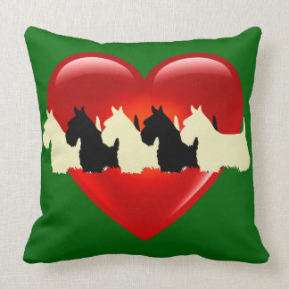 Island green 6 Scottish Terrier dog, red heart Throw Pillow