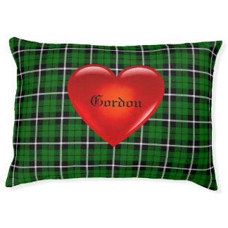 Island green plaid, big red heart, name gordon pet bed