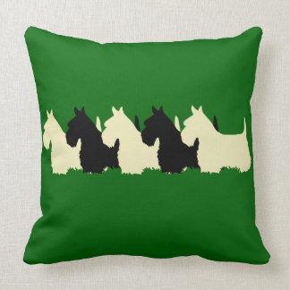Island green Plaid print 6 Scottish Terrier dog Throw Pillow