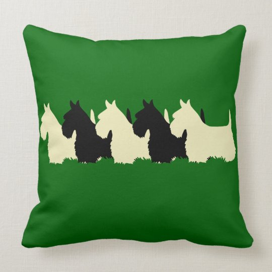 Island green Plaid print 6 Scottish Terrier dog Throw Pillow