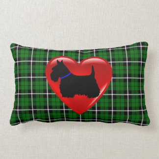 Island green Plaid print Scottish Terrier dog blue Lumbar Pillow