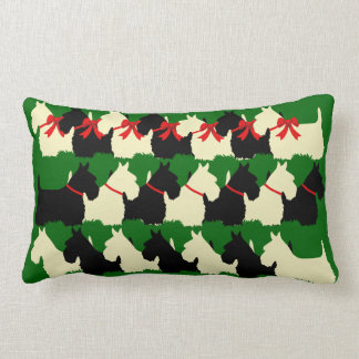 Island green Plaid print Scottish Terrier dog Lumbar Pillow