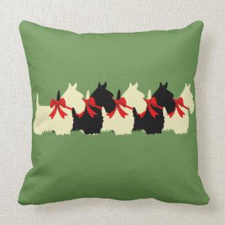 Island green Plaid print Scottish Terrier dog Throw Pillow