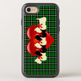Island green plaid, Scottish Terrier, red heart OtterBox Symmetry iPhone 8/7 Case