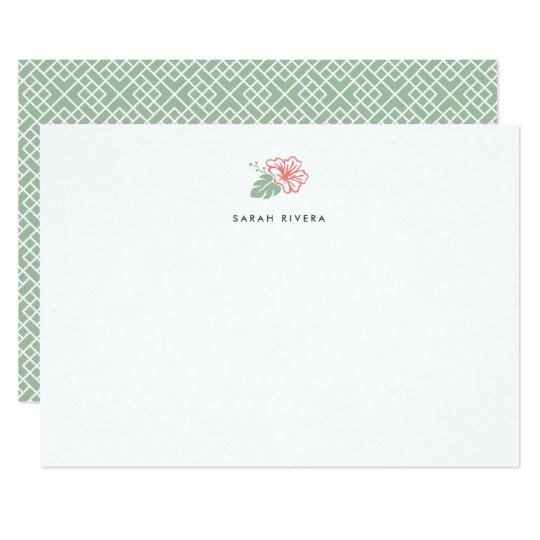 Island Hibiscus Personalized Stationery Flat Card
