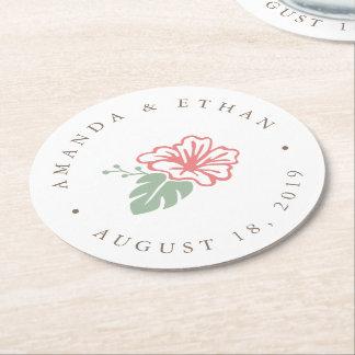 Island Hibiscus Wedding Round Paper Coaster