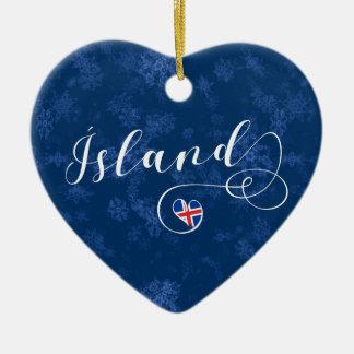 Ísland Iceland Heart, Christmas Tree Ornament