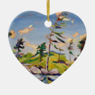 Island Landscape Painting Ceramic Ornament