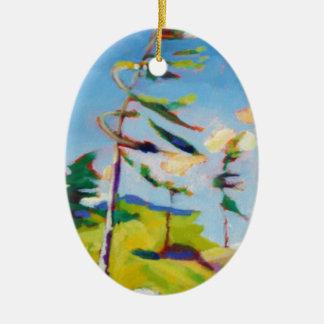 Island Landscape Painting Ceramic Oval Ornament