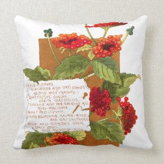 Island Lantana Flowers Bermuda Floral Poem Throw Pillow