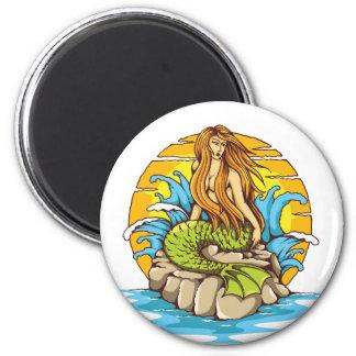Island Mermaid With Tribal Sun Tattoo Style Art Magnet