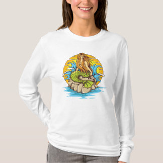 Island Mermaid With Tribal Sun Tattoo Style Art T-Shirt