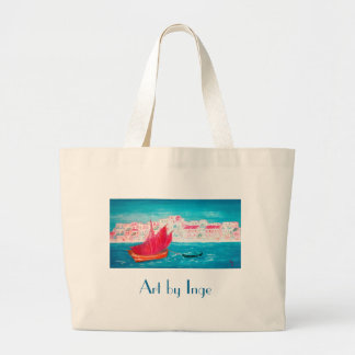 Island of Crete - painting by Austrian Artist Inge Large Tote Bag